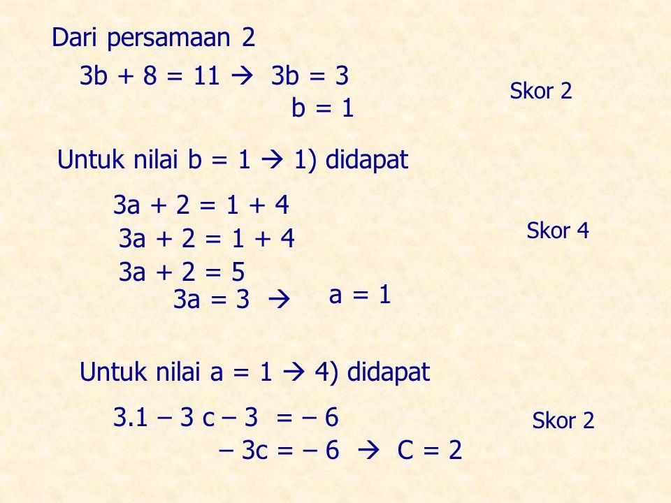 3a + 2 = 1 + 4 3a + 2 = 5 3a = 3  a = 1 Untuk nilai a = 1  4) didapat – 3c = – 6  C = 2 3.1 – 3 c – 3 = – 6 Dari persamaan 2 3b + 8 = 11  3b = 3 b = 1 Untuk nilai b = 1  1) didapat 3a + 2 = 1 + 4 Skor 2 Skor 4 Skor 2