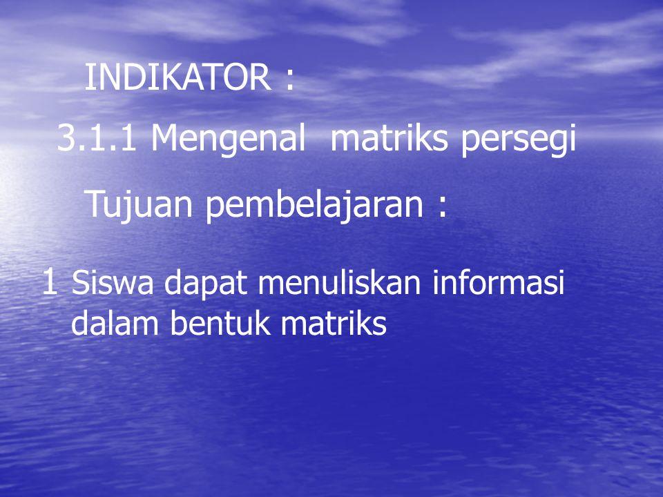 3.1.1 Mengenal matriks persegi INDIKATOR : 1 Siswa dapat menuliskan informasi dalam bentuk matriks Tujuan pembelajaran :