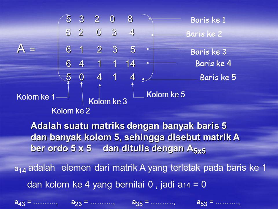 5 3 2 0 8 5 3 2 0 8 5 2 0 3 4 5 2 0 3 4 A = 6 1 2 3 5 6 4 1 1 14 6 4 1 1 14 5 0 4 1 4 5 0 4 1 4 Baris ke 1 Baris ke 2 Baris ke 3 Kolom ke 1 Kolom ke 2 Kolom ke 3 Kolom ke 5 Adalah suatu matriks dengan banyak baris 5 dan banyak kolom 5, sehingga disebut matrik A ber ordo 5 x 5 dan ditulis dengan A 5x5 a 14 adalah elemen dari matrik A yang terletak pada baris ke 1 dan kolom ke 4 yang bernilai 0, jadi a 14 = 0 a 43 = ………., a 23 = ………., a 35 = ………., a 53 = ………., Baris ke 4 Baris ke 5
