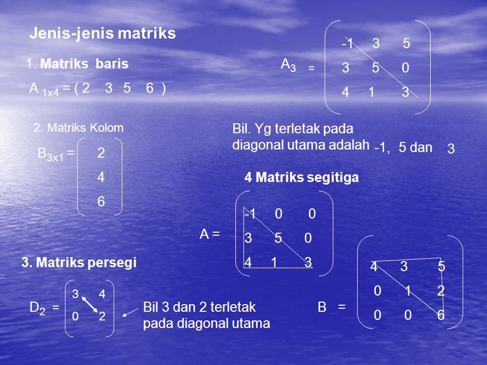 Jenis-jenis matriks 1.Matriks baris A 1x4 = ( 2 3 5 6 ) 2.