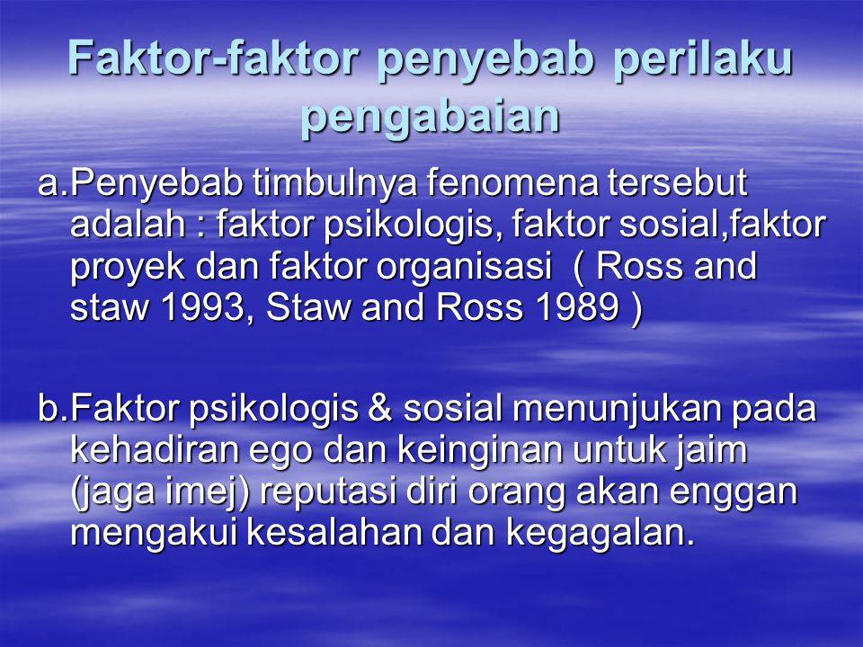 Faktor-faktor penyebab perilaku pengabaian a.Penyebab timbulnya fenomena tersebut adalah : faktor psikologis, faktor sosial,faktor proyek dan faktor organisasi ( Ross and staw 1993, Staw and Ross 1989 ) b.Faktor psikologis & sosial menunjukan pada kehadiran ego dan keinginan untuk jaim (jaga imej) reputasi diri orang akan enggan mengakui kesalahan dan kegagalan.
