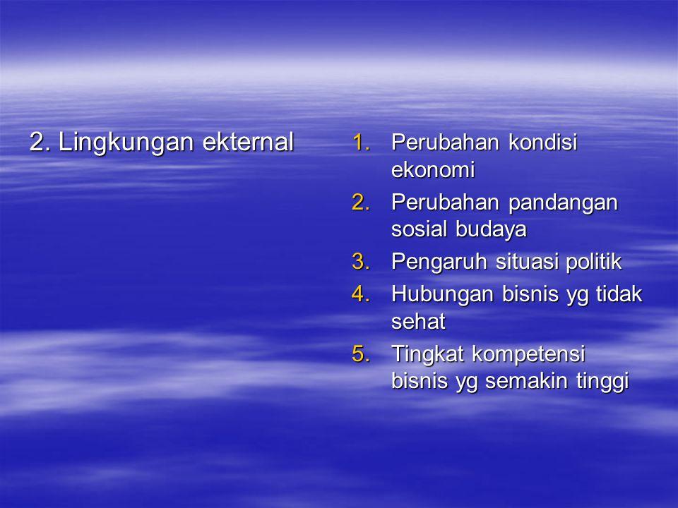 2. Lingkungan ekternal 1.Perubahan kondisi ekonomi 2.Perubahan pandangan sosial budaya 3.Pengaruh situasi politik 4.Hubungan bisnis yg tidak sehat 5.T