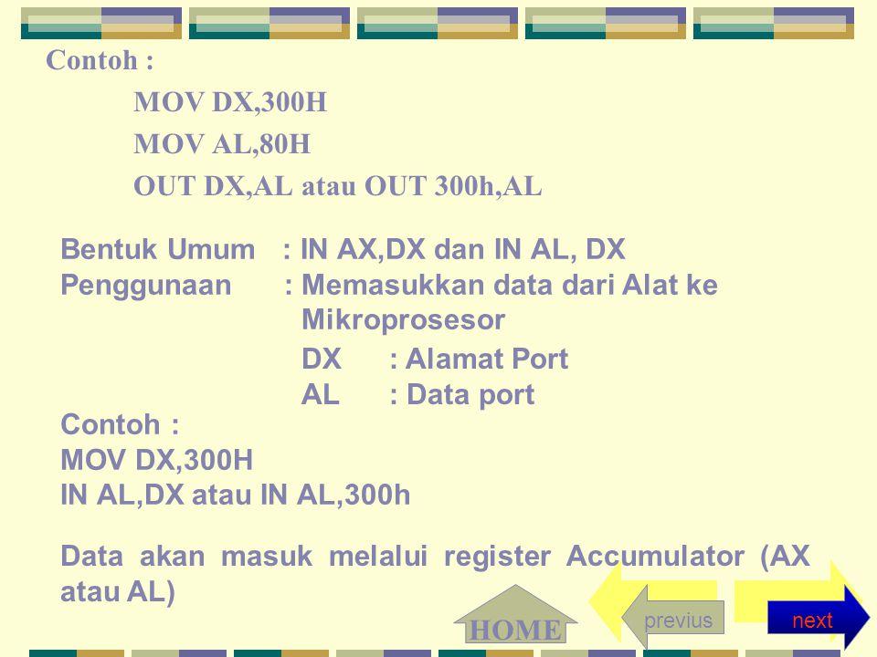 Contoh : MOV DX,300H MOV AL,80H OUT DX,AL atau OUT 300h,AL Bentuk Umum : IN AX,DX dan IN AL, DX Penggunaan : Memasukkan data dari Alat ke Mikroprosesor DX : Alamat Port AL : Data port Contoh : MOV DX,300H IN AL,DX atau IN AL,300h Data akan masuk melalui register Accumulator (AX atau AL) nextprevius HOME