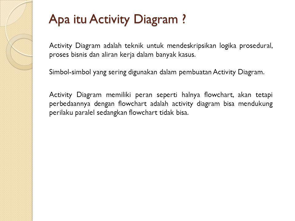Apa itu Activity Diagram ? Activity Diagram adalah teknik untuk mendeskripsikan logika prosedural, proses bisnis dan aliran kerja dalam banyak kasus.