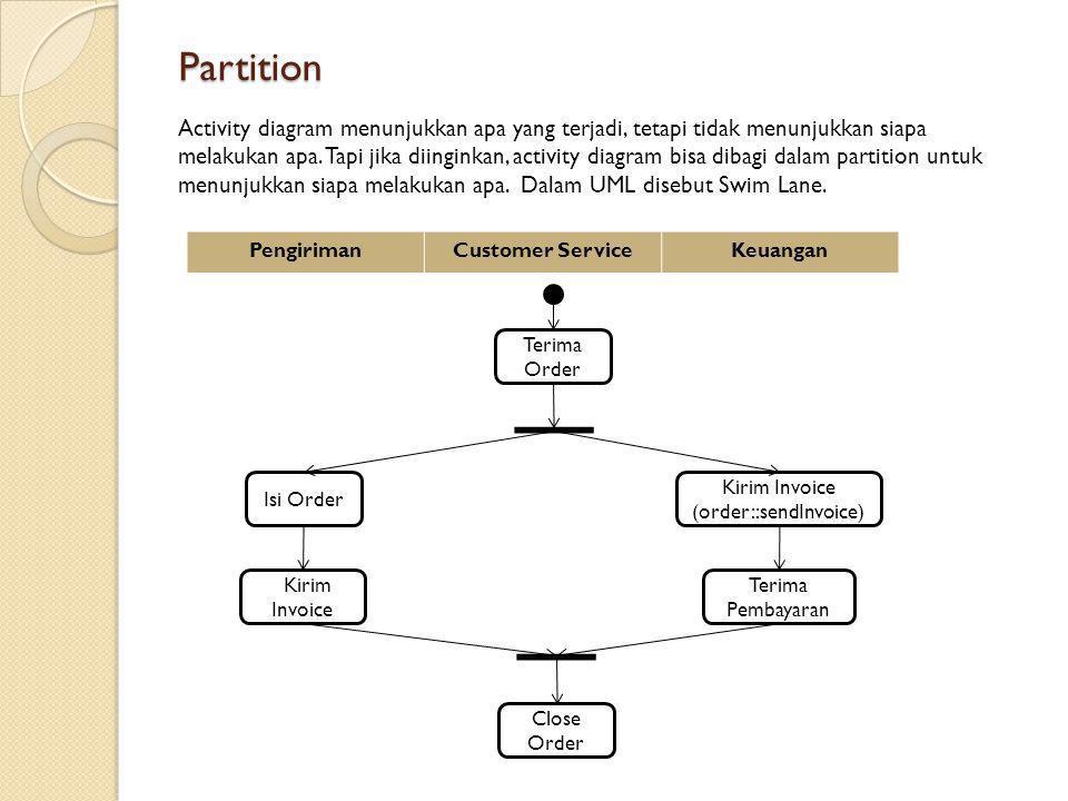 Partition Activity diagram menunjukkan apa yang terjadi, tetapi tidak menunjukkan siapa melakukan apa. Tapi jika diinginkan, activity diagram bisa dib