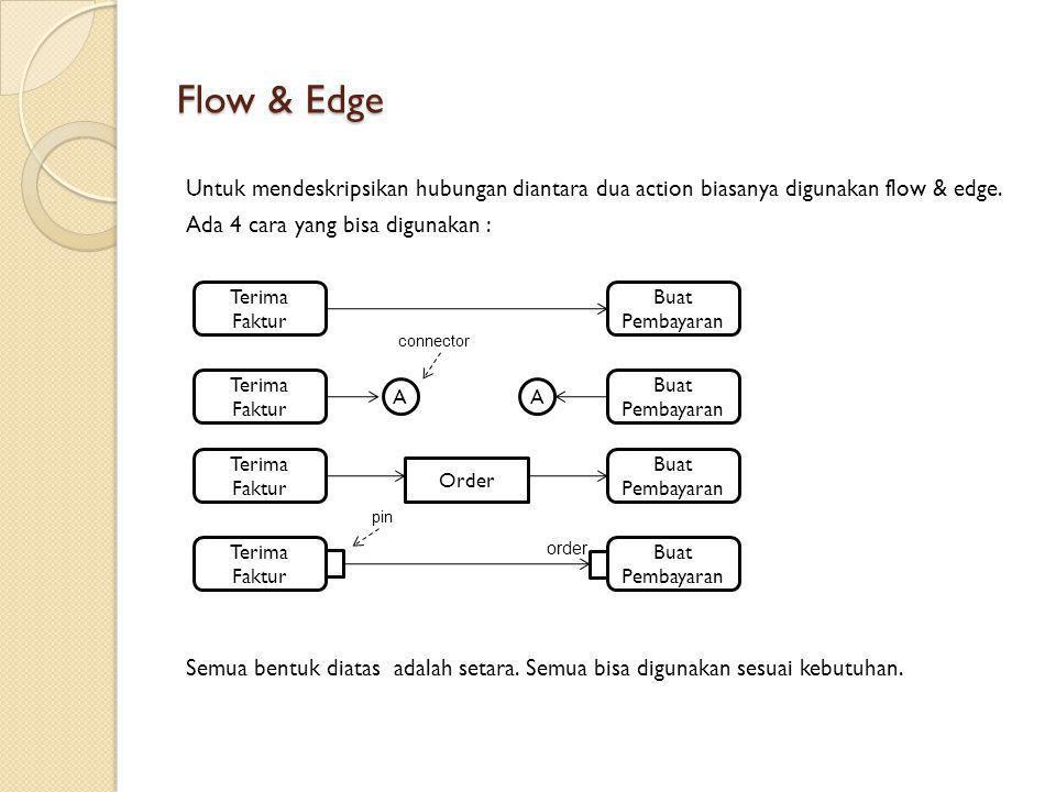 Flow & Edge Untuk mendeskripsikan hubungan diantara dua action biasanya digunakan flow & edge. Ada 4 cara yang bisa digunakan : Semua bentuk diatas ad