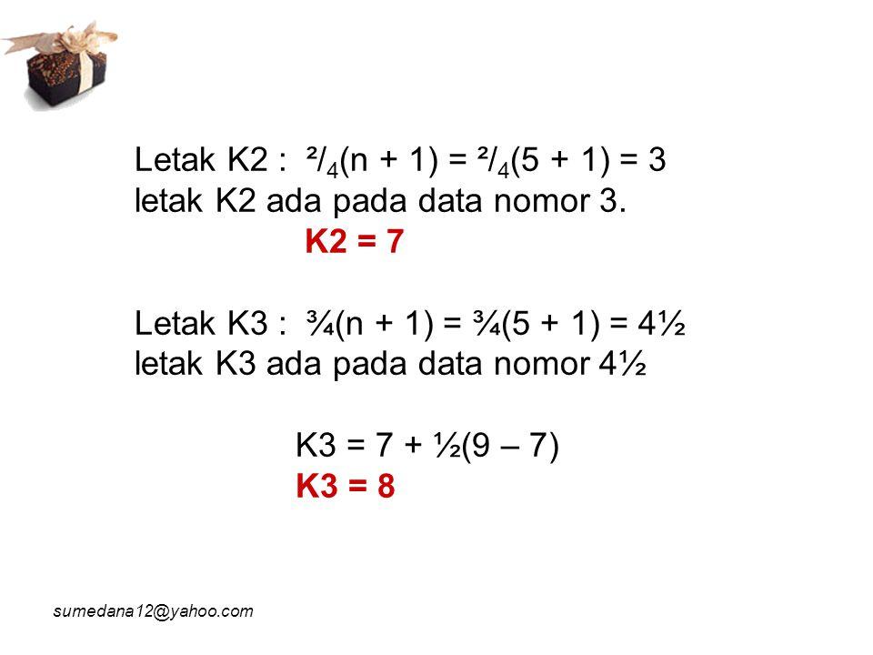 sumedana12@yahoo.com desil Di = desil ke i Bb = batas bawah kelas yg mengandung desil ke i p = panjang kelas interval n = banyaknya data (frekuensi) F = frekuensi kumulatif sebelum kelas interval yang mengandung desil ke i fDi = frekuensi kelas interval yang mengandung desil ke i