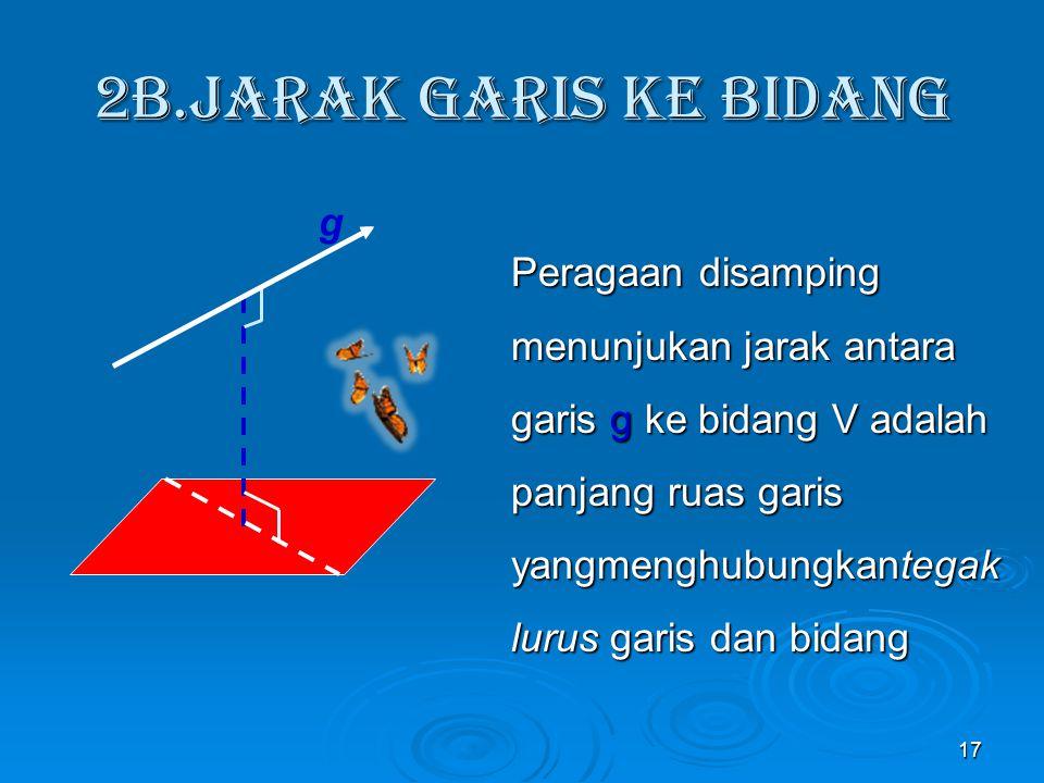 Penyelesaian: Jarak garis BD ke EG = PQ (PQ  BD,PQ  EG) jadi PQ = AE = 4 cm = 4 cm 16 4 cm A B C D H E F G P Q