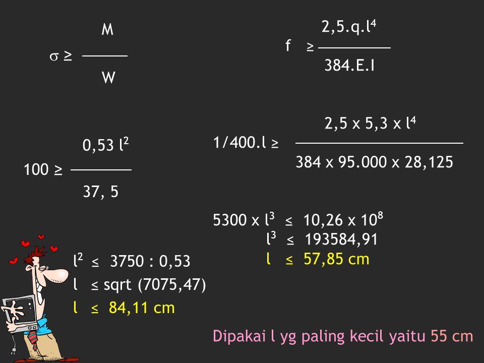 3.Menentukan l 2 c-t-c 55 cm Beban terbagi rata q' = 55 cm x 540 kg/m 2 = 2,97 kg/cm M  ≥ W 0,297.