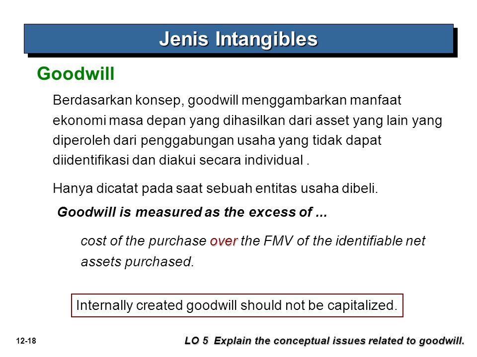 12-18 Jenis Intangibles LO 5 Explain the conceptual issues related to goodwill. Goodwill Berdasarkan konsep, goodwill menggambarkan manfaat ekonomi ma