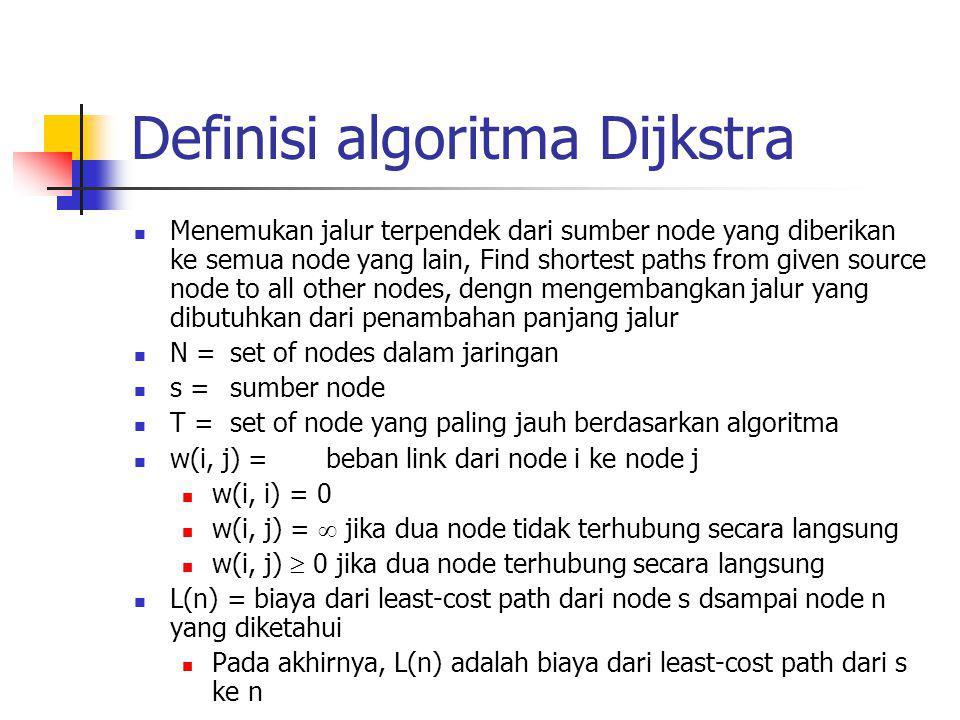 Metode algoritma Dijkstra Step 1 [inisialisasi] T = {s} Set of nodes so far incorporated consists of only source node L(n) = w(s, n) for n ≠ s Biaya awal jalur dari node yang bertetangga adalah biaya link Step 2 [memperoleh node berikutnya] menemukan neighboring node tidak dalam T dengan least-cost path from s Menggabungkan node kedalam T Juga menggabungkan sisi yang bertabrakan pada node tersebut dan sebuah node di T yang memuliki kontribusi dalam path Step 3 [Update Least-Cost Paths] L(n) = min[L(n), L(x) + w(x, n)] for all n  T Jika nilainya minimum,jalur dari s ke n adalah jalur dari s ke x concatenated dengan edge dari x ke n Algoritma berakhir ketika semua node sudah ditambahkan ke T