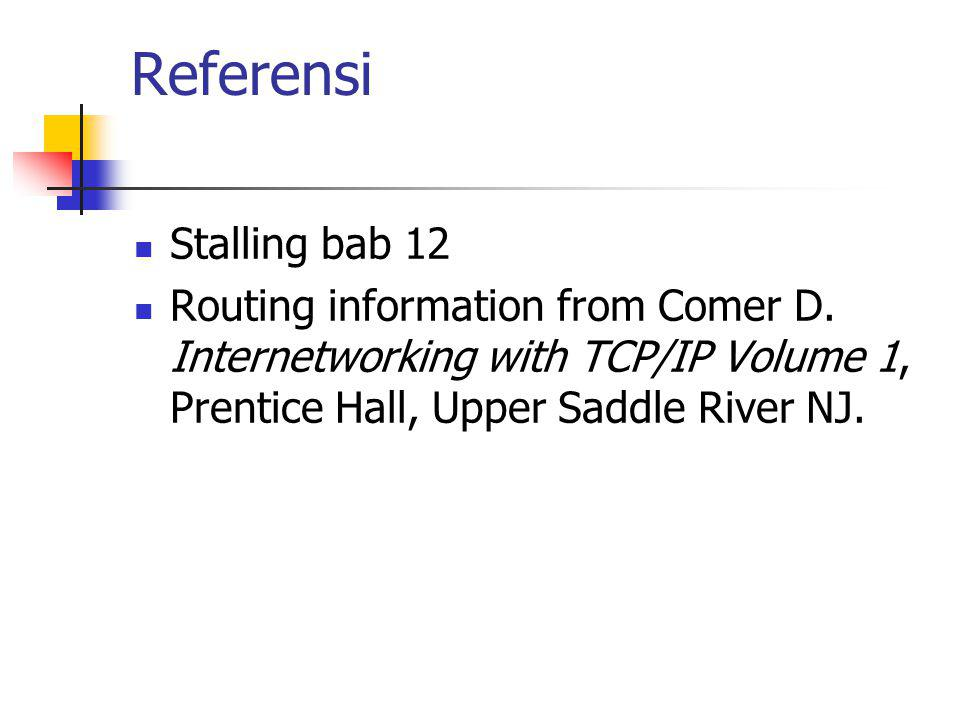 Referensi Stalling bab 12 Routing information from Comer D. Internetworking with TCP/IP Volume 1, Prentice Hall, Upper Saddle River NJ.