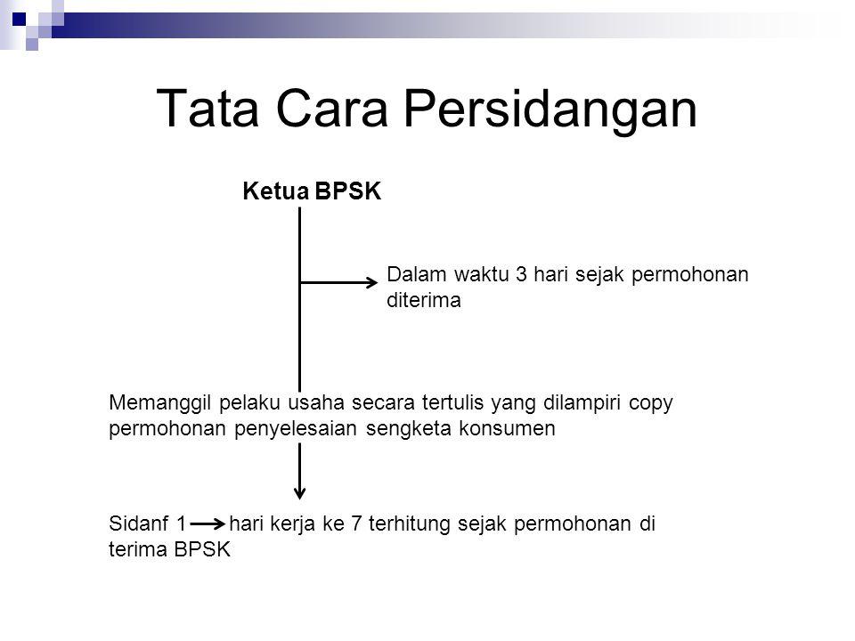 Tata Cara Persidangan Ketua BPSK Dalam waktu 3 hari sejak permohonan diterima Memanggil pelaku usaha secara tertulis yang dilampiri copy permohonan pe