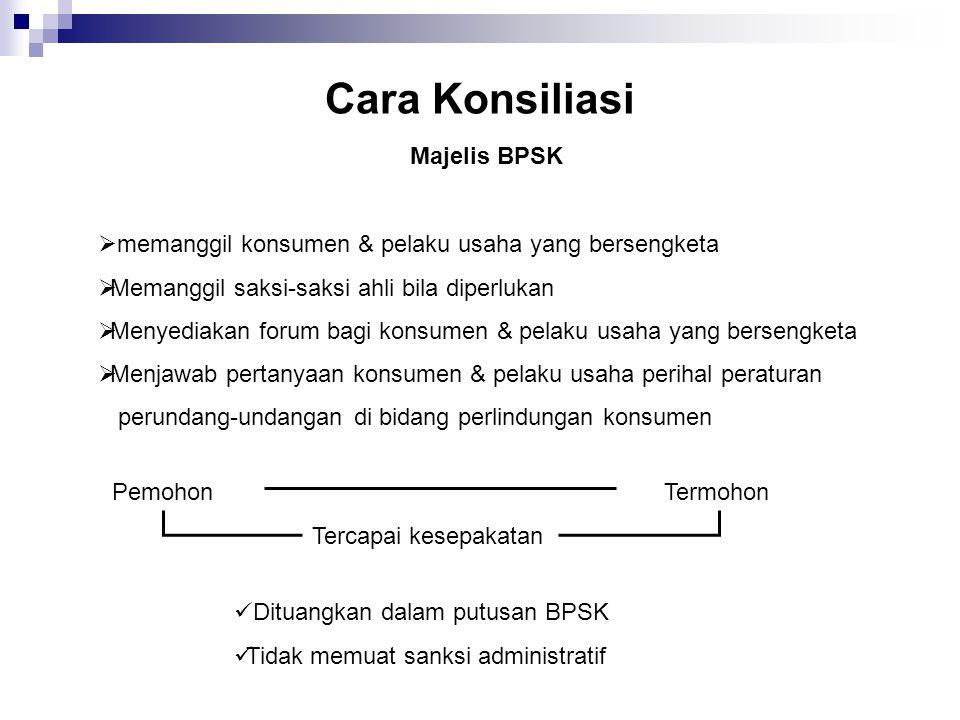 Cara Konsiliasi Majelis BPSK  memanggil konsumen & pelaku usaha yang bersengketa  Memanggil saksi-saksi ahli bila diperlukan  Menyediakan forum bag