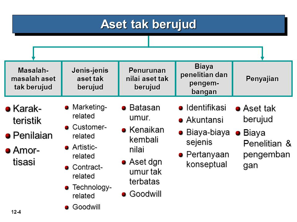 12-4 Marketing- related Customer- related Artistic- related Contract- related Technology- related Goodwill Masalah- masalah aset tak berujud Jenis-jen