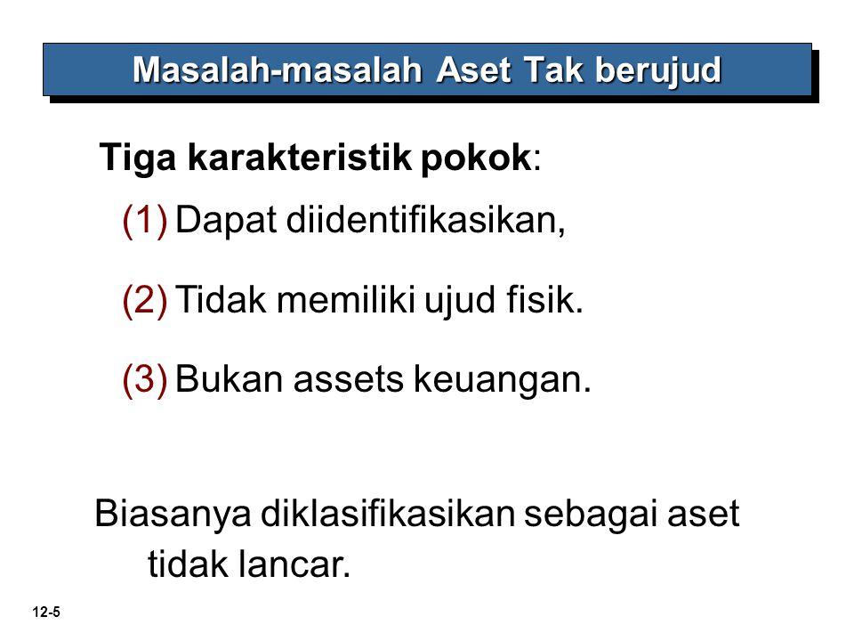 12-5 Masalah-masalah Aset Tak berujud Tiga karakteristik pokok: (1) (1)Dapat diidentifikasikan, (2) (2)Tidak memiliki ujud fisik. (3) (3)Bukan assets