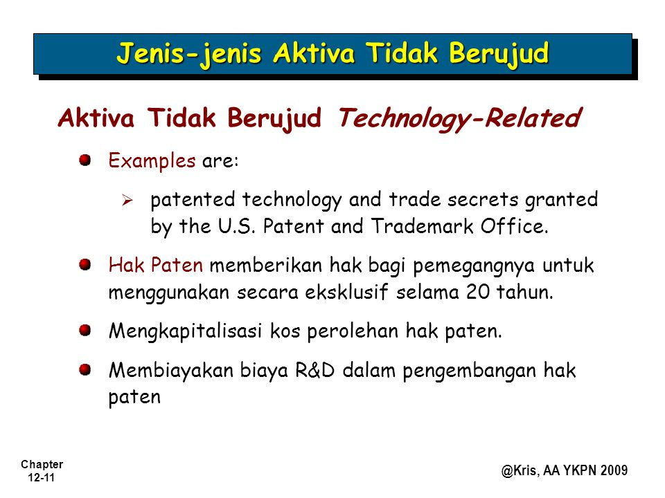 Chapter 12-11 @Kris, AA YKPN 2009 Jenis-jenis Aktiva Tidak Berujud Aktiva Tidak Berujud Technology-Related Examples are:   patented technology and trade secrets granted by the U.S.