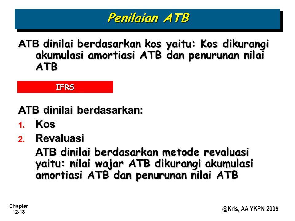 Chapter 12-18 @Kris, AA YKPN 2009 ATB dinilai berdasarkan kos yaitu: Kos dikurangi akumulasi amortiasi ATB dan penurunan nilai ATB ATB dinilai berdasa