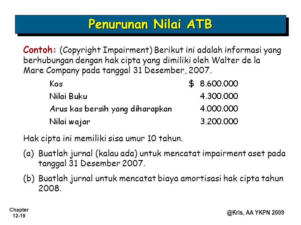 Chapter 12-19 @Kris, AA YKPN 2009 Contoh: (Copyright Impairment) Berikut ini adalah informasi yang berhubungan dengan hak cipta yang dimiliki oleh Wal