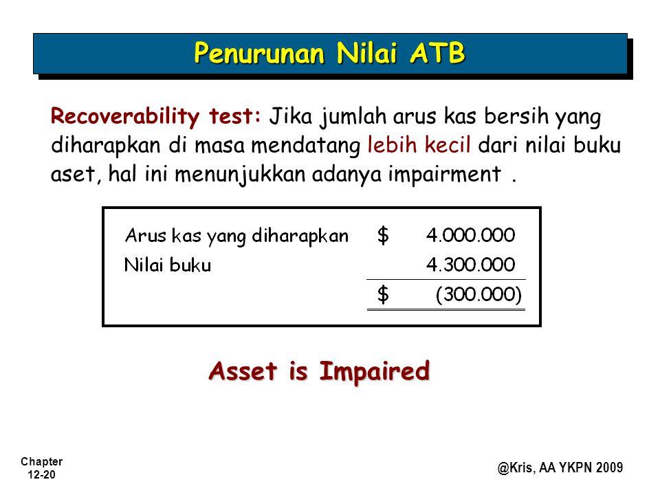 Chapter 12-20 @Kris, AA YKPN 2009 Penurunan Nilai ATB Recoverability test: Jika jumlah arus kas bersih yang diharapkan di masa mendatang lebih kecil d