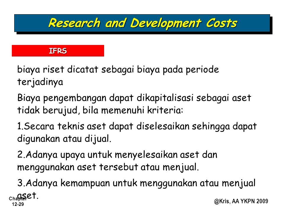 Chapter 12-29 @Kris, AA YKPN 2009 Research and Development Costs biaya riset dicatat sebagai biaya pada periode terjadinya Biaya pengembangan dapat di