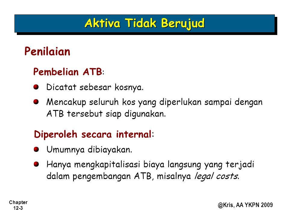Chapter 12-3 @Kris, AA YKPN 2009 Aktiva Tidak Berujud Pembelian ATB : Dicatat sebesar kosnya. Mencakup seluruh kos yang diperlukan sampai dengan ATB t