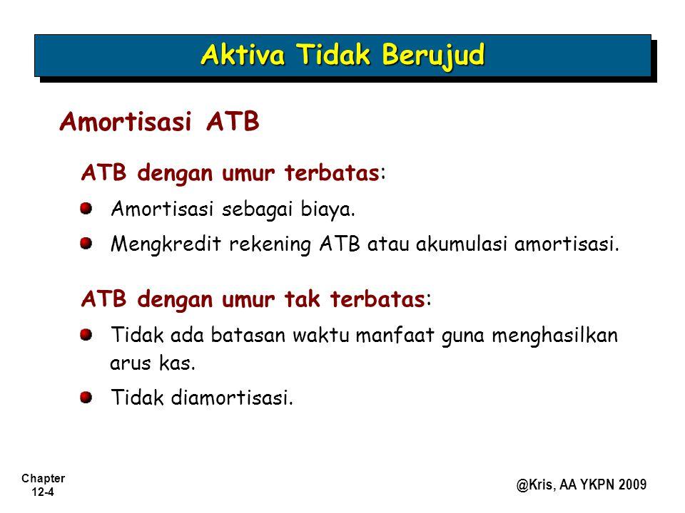Chapter 12-4 @Kris, AA YKPN 2009 Aktiva Tidak Berujud Amortisasi ATB ATB dengan umur terbatas: Amortisasi sebagai biaya. Mengkredit rekening ATB atau