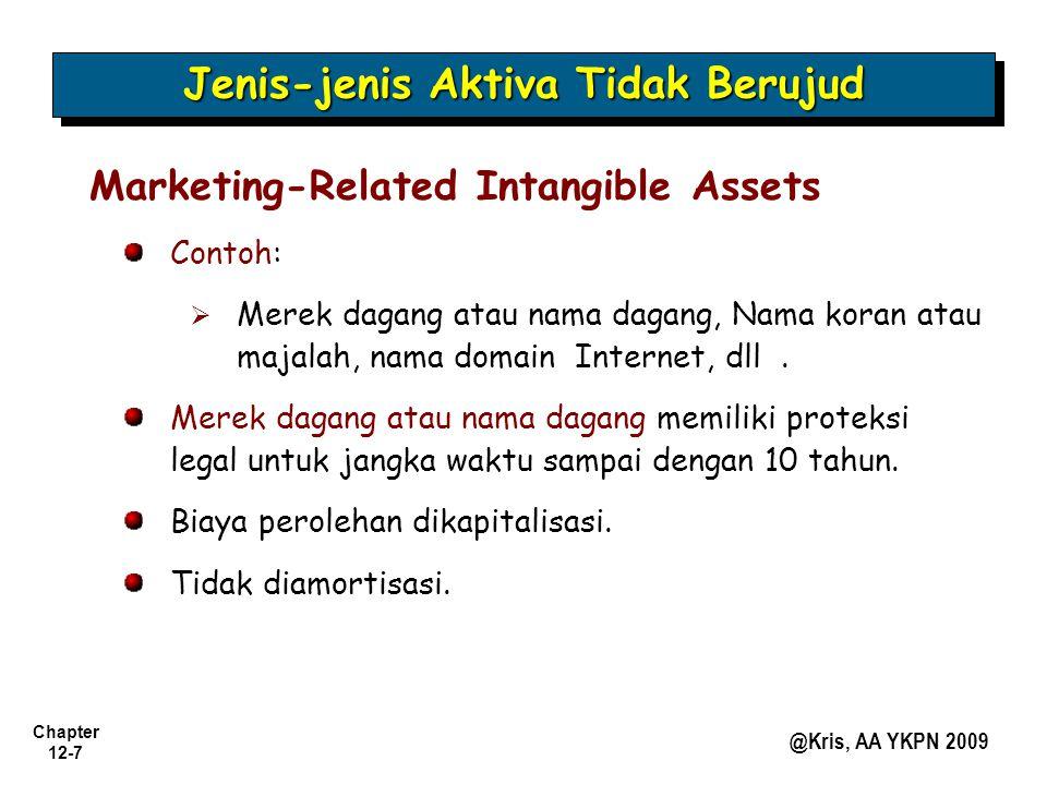 Chapter 12-7 @Kris, AA YKPN 2009 Jenis-jenis Aktiva Tidak Berujud Marketing-Related Intangible Assets Contoh:   Merek dagang atau nama dagang, Nama