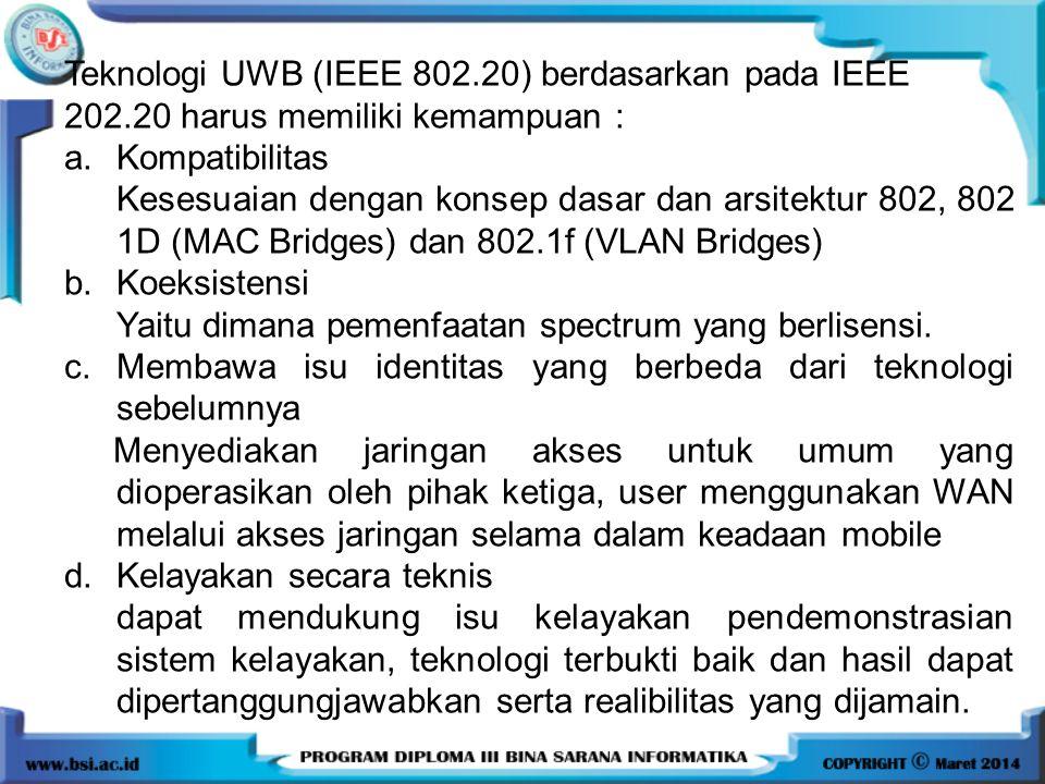 Teknologi UWB (IEEE 802.20) berdasarkan pada IEEE 202.20 harus memiliki kemampuan : a.Kompatibilitas Kesesuaian dengan konsep dasar dan arsitektur 802