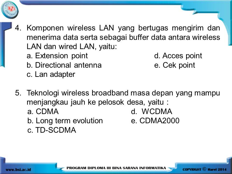 4.Komponen wireless LAN yang bertugas mengirim dan menerima data serta sebagai buffer data antara wireless LAN dan wired LAN, yaitu: a. Extension poin