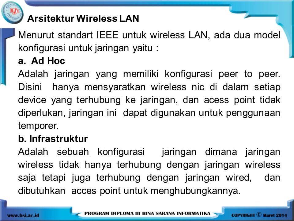 Arsitektur Wireless LAN Menurut standart IEEE untuk wireless LAN, ada dua model konfigurasi untuk jaringan yaitu : a. Ad Hoc Adalah jaringan yang memi