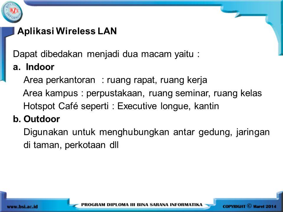 Aplikasi Wireless LAN Dapat dibedakan menjadi dua macam yaitu : a. Indoor Area perkantoran : ruang rapat, ruang kerja Area kampus : perpustakaan, ruan