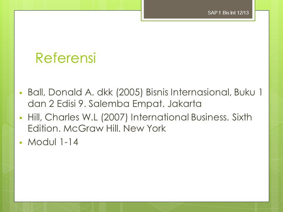 Referensi  Ball, Donald A. dkk (2005) Bisnis Internasional, Buku 1 dan 2 Edisi 9. Salemba Empat. Jakarta  Hill, Charles W.L (2007) International Bus