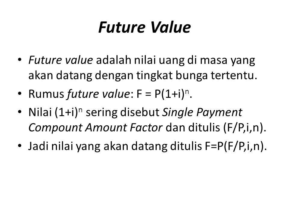 Future Value Future value adalah nilai uang di masa yang akan datang dengan tingkat bunga tertentu. Rumus future value: F = P(1+i) n. Nilai (1+i) n se