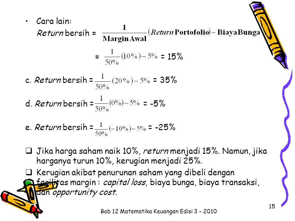 Cara lain: Return bersih = = = 15% c. Return bersih = = 35% d. Return bersih = = -5% e. Return bersih = = -25%  Jika harga saham naik 10%, return men