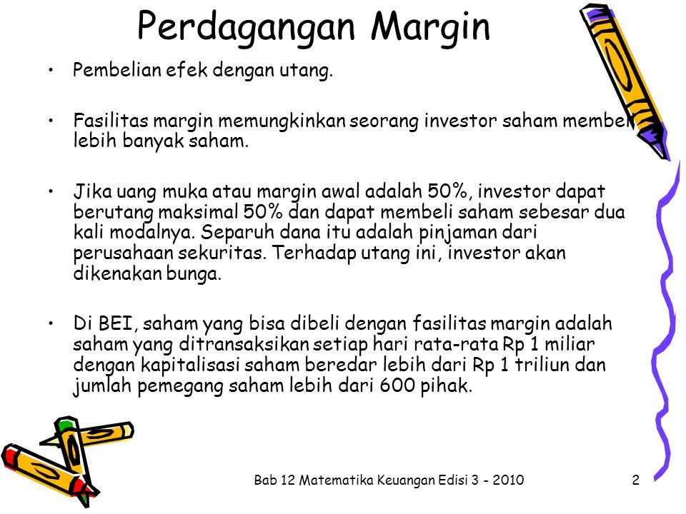 Contoh 12.7 Seorang investor bermodal Rp 250 juta memperoleh fasilitas margin dengan margin awal 50% dan bunga 20% p.a.