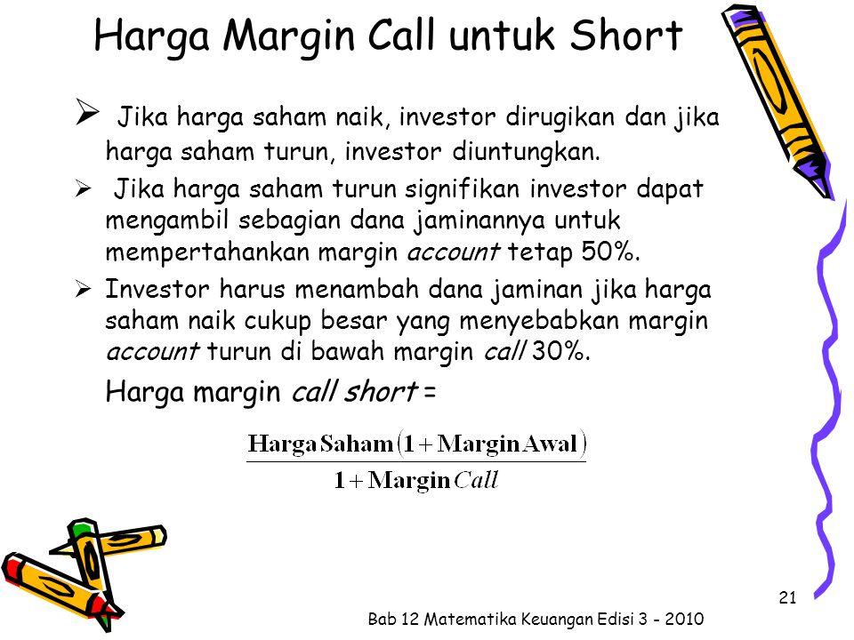 Harga Margin Call untuk Short  Jika harga saham naik, investor dirugikan dan jika harga saham turun, investor diuntungkan.  Jika harga saham turun s