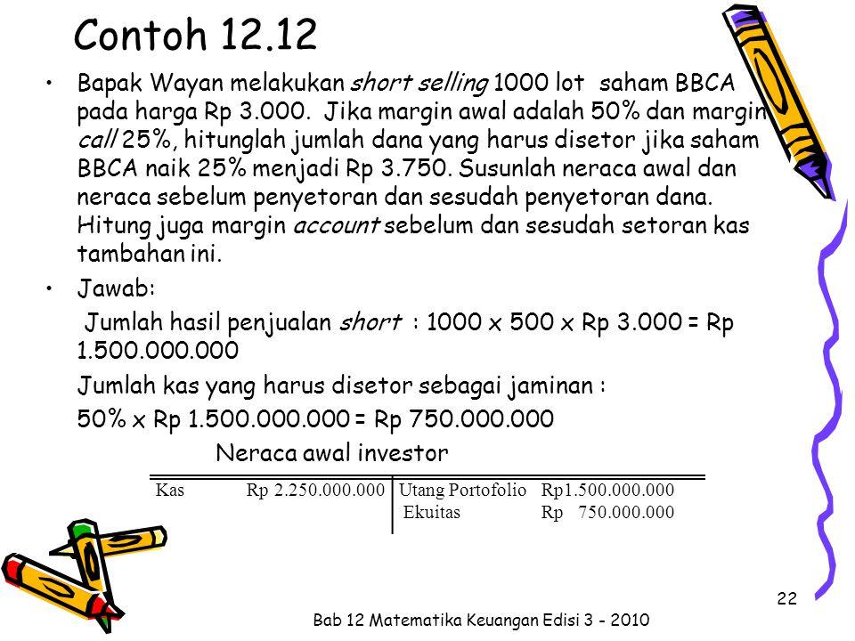 Contoh 12.12 Bapak Wayan melakukan short selling 1000 lot saham BBCA pada harga Rp 3.000. Jika margin awal adalah 50% dan margin call 25%, hitunglah j