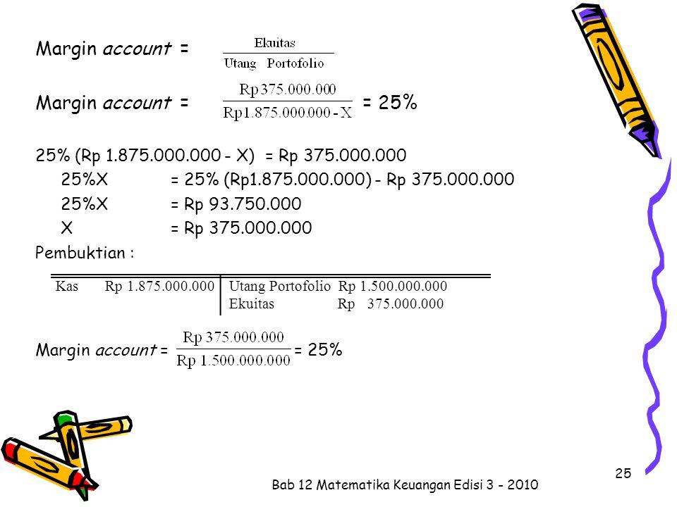 Margin account = Margin account = = 25% 25% (Rp 1.875.000.000 - X) = Rp 375.000.000 25%X = 25% (Rp1.875.000.000) - Rp 375.000.000 25%X = Rp 93.750.000 X= Rp 375.000.000 Pembuktian : Margin account = = 25% Bab 12 Matematika Keuangan Edisi 3 - 2010 25 Kas Rp 1.875.000.000 Utang Portofolio Rp 1.500.000.000 Ekuitas Rp 375.000.000