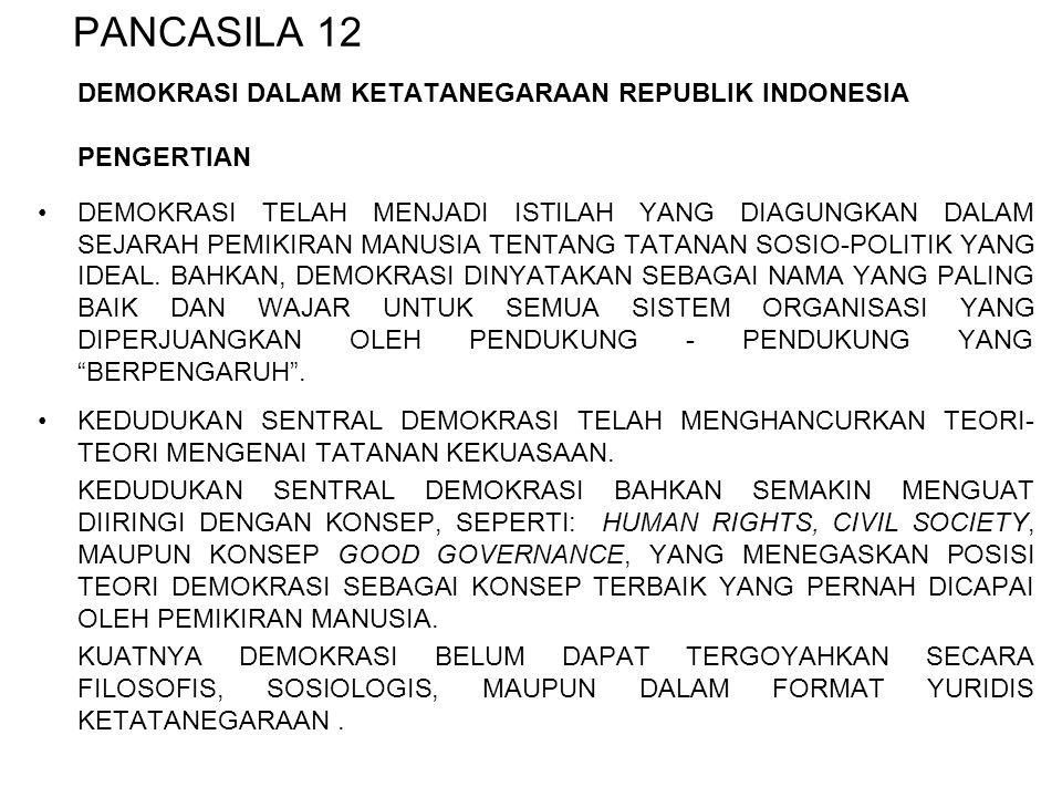 PANCASILA 12 DEMOKRASI DALAM KETATANEGARAAN REPUBLIK INDONESIA PENGERTIAN DEMOKRASI TELAH MENJADI ISTILAH YANG DIAGUNGKAN DALAM SEJARAH PEMIKIRAN MANU