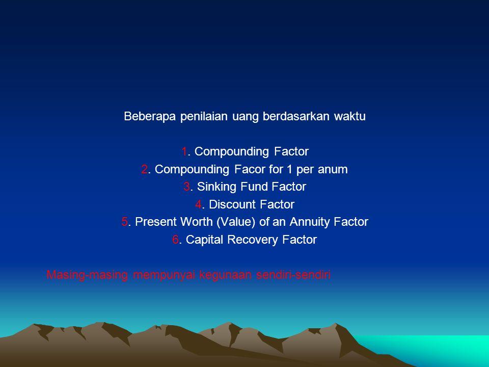 Beberapa penilaian uang berdasarkan waktu 1.Compounding Factor 2.