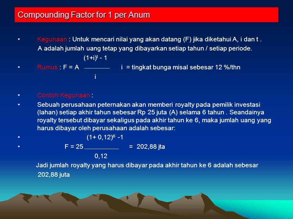 Compounding Factor for 1 per Anum Kegunaan : Untuk mencari nilai yang akan datang (F) jika diketahui A, i dan t.
