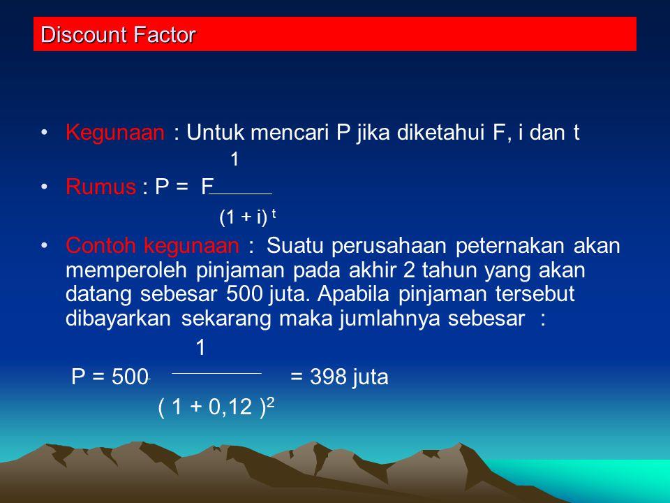 Present Worth of an Anuity Factor Kegunaan : untuk mencari P jika diketahui A, i dan t.