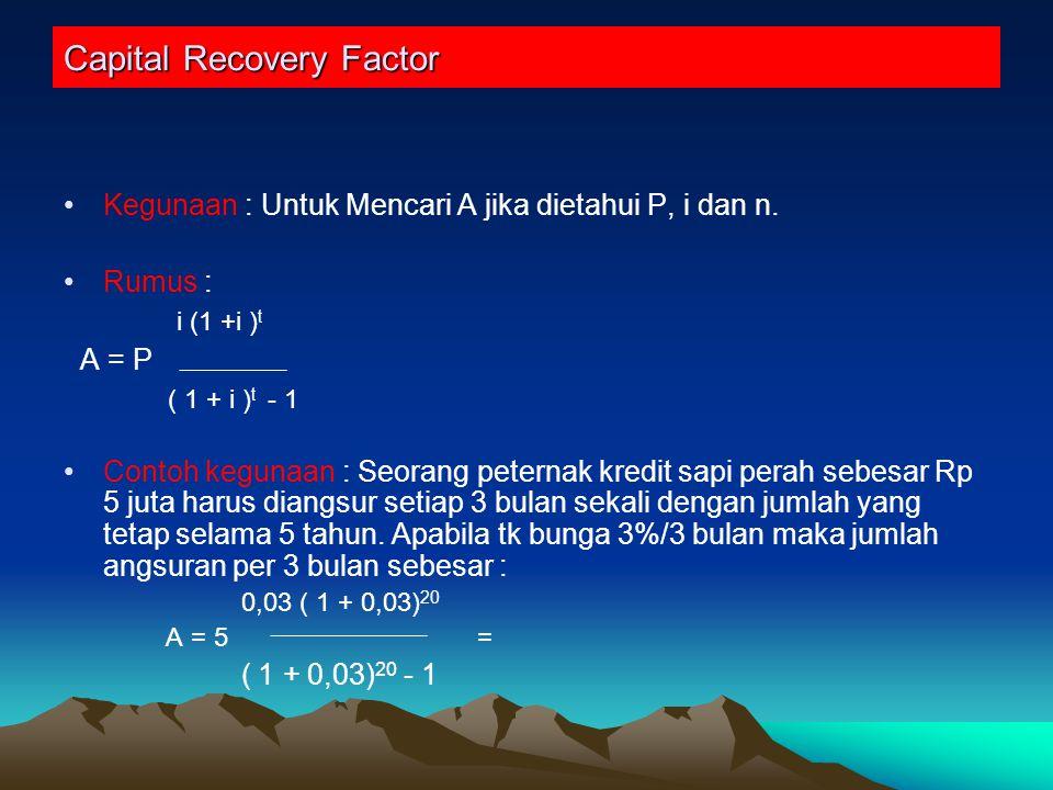 Capital Recovery Factor Kegunaan : Untuk Mencari A jika dietahui P, i dan n.