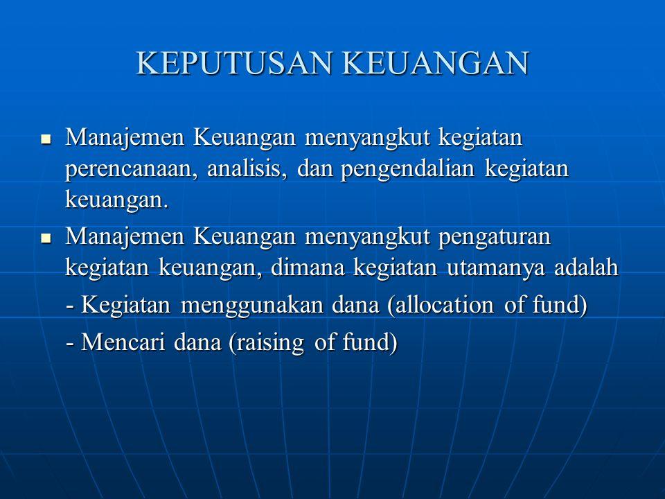 KEPUTUSAN KEUANGAN Manajemen Keuangan menyangkut kegiatan perencanaan, analisis, dan pengendalian kegiatan keuangan. Manajemen Keuangan menyangkut keg