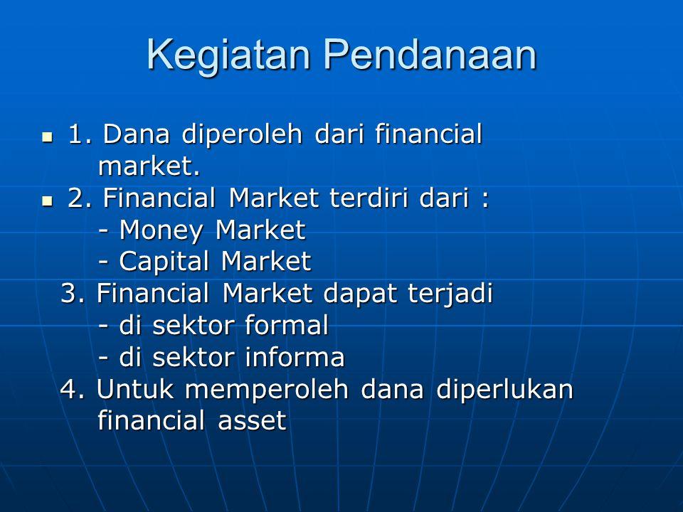Kegiatan Pendanaan 1. Dana diperoleh dari financial 1. Dana diperoleh dari financial market. market. 2. Financial Market terdiri dari : 2. Financial M