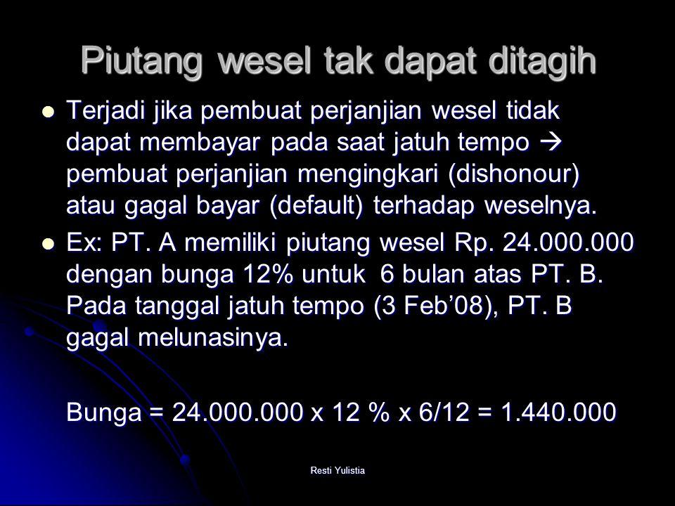 Resti Yulistia Piutang wesel tak dapat ditagih Terjadi jika pembuat perjanjian wesel tidak dapat membayar pada saat jatuh tempo  pembuat perjanjian mengingkari (dishonour) atau gagal bayar (default) terhadap weselnya.