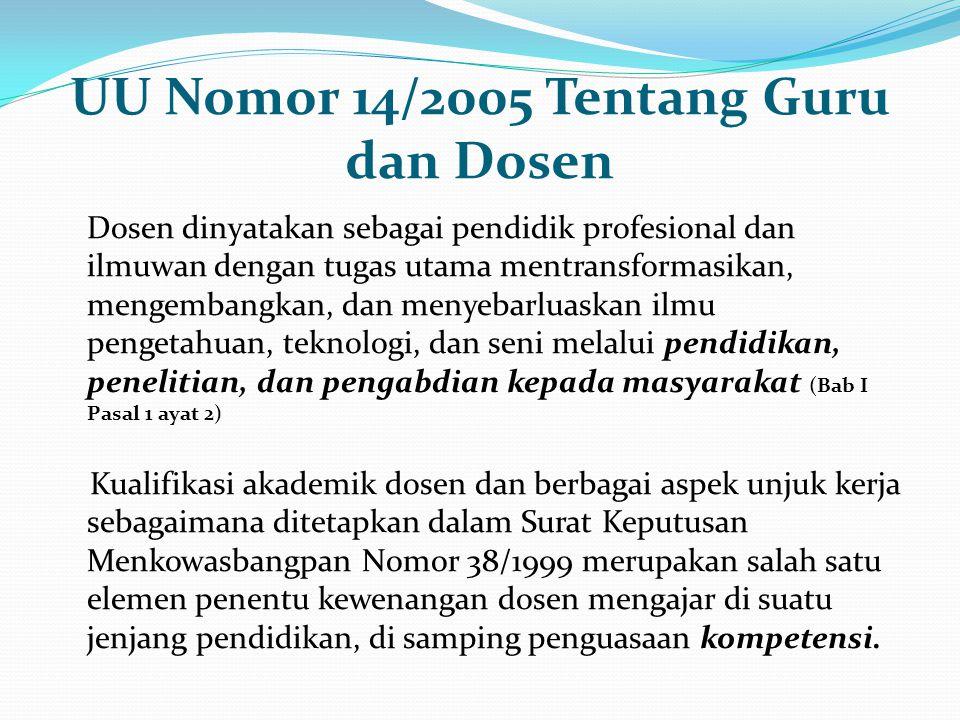 UU Nomor 14/2005 Tentang Guru dan Dosen Dosen dinyatakan sebagai pendidik profesional dan ilmuwan dengan tugas utama mentransformasikan, mengembangkan
