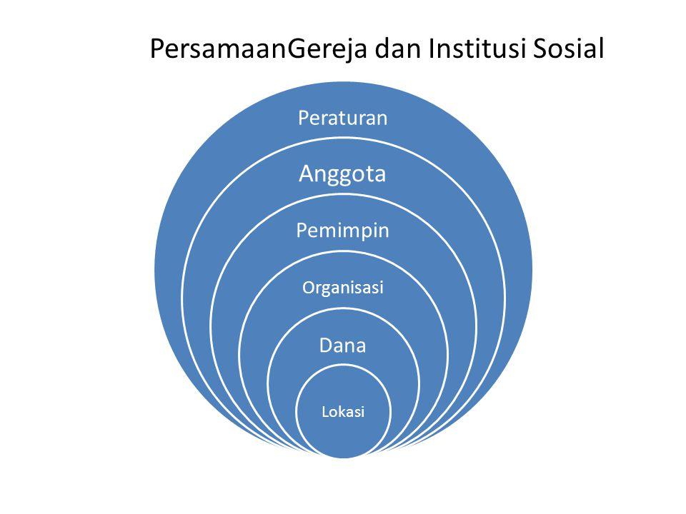 PersamaanGereja dan Institusi Sosial Peraturan Anggota Pemimpin Organisasi Dana Lokasi