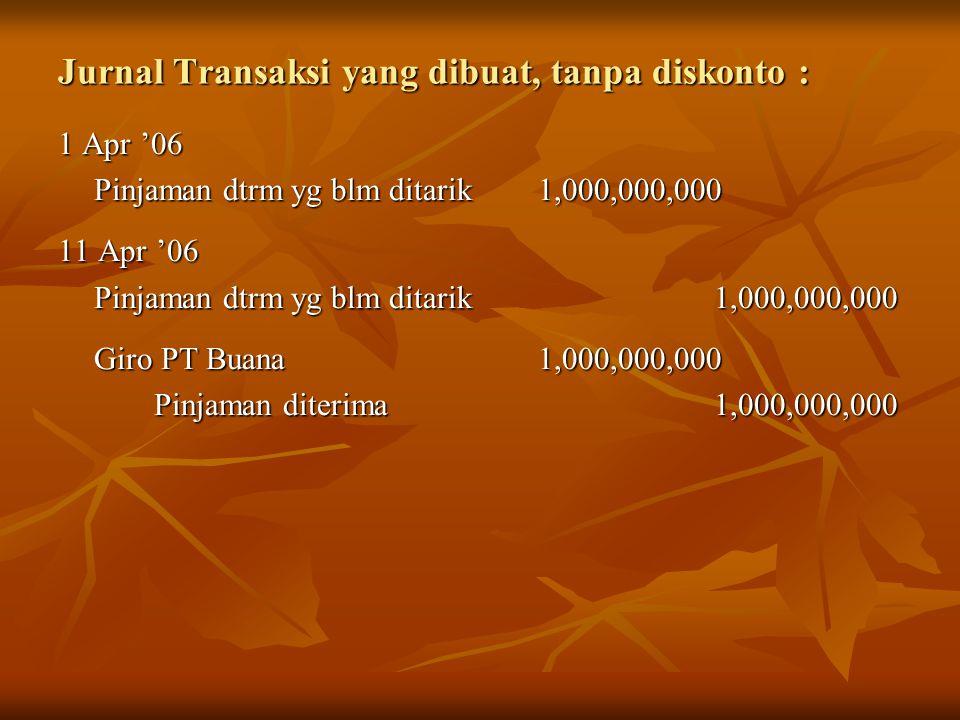 Jurnal Transaksi yang dibuat, tanpa diskonto : 1 Apr '06 Pinjaman dtrm yg blm ditarik1,000,000,000 11 Apr '06 Pinjaman dtrm yg blm ditarik 1,000,000,0